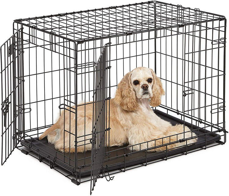 Dog Crate Kennel Folding Metal Pet Cage 2 Door With Tray Pan