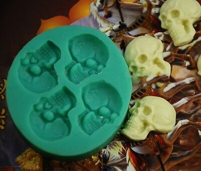 (Kitchen Bar Party Cool Skull Head Silicone Cake Mold Chocolate Fondant DIY NT5)
