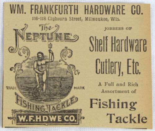 Vintage 1893 NEPTUNE Fishing Tackle Lure Newspaper Ad