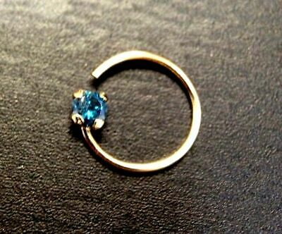 .03CT Natura 2mm Blue Diamond Solid 14K Yellow Gold Nose Ring  Blue Diamond Nose Ring
