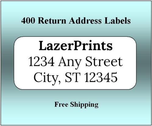 400 Return Address Labels. 1/2 x 1.75 Inch White Labels. Easy Peel & Stick.