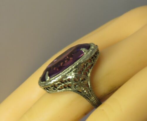 ANTIQUE EDWARDIAN STERLING FILIGREE RING WITH AMETHYST GLASS STONE SZ 5