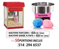 $50 Location Machine Popcorn / Barbe à papa Montreal