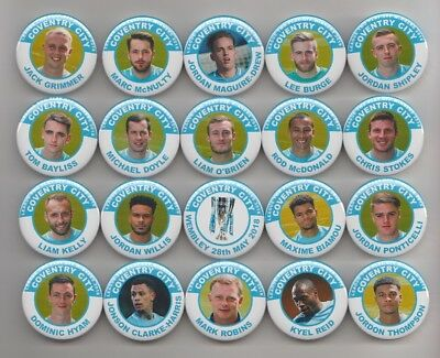 COVENTRY CITY LEAGUE TWO PLAY OFF  WINNERS 2018  MAGNETS  X 20 38mm  IN SIZE.