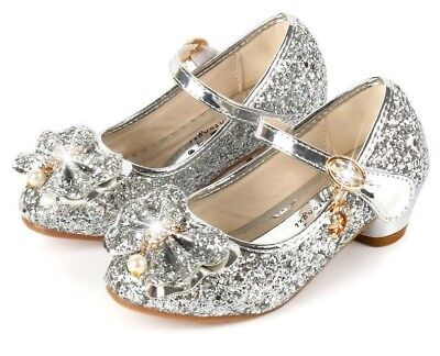 Princess Party Shoes For Girl Glitter Heel Shoes Butterfly Knot Blue Pink Silver