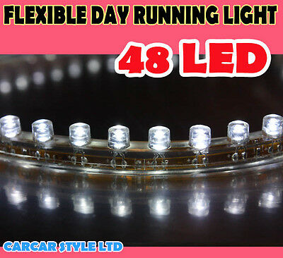 Car White 48 LED Bulb Flexible Light Strip 48cm 12V Waterproof