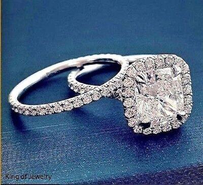 Platinum 4.18 Ct Cushion Cut Diamond Round Pave Engagement Ring  H VS1 GIA 5