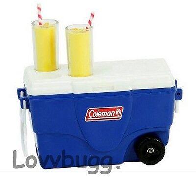 """Lovvbugg Mini Cooler Ice Chest n Lemonade Set for 18"""" American Girl Doll Food Accessory"""