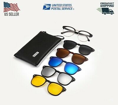 5 in 1 Clip on Sunglasses, Night Vision, Polarized,TR90 Magnetic Lens Swappable (Sunglasses Uv400 Polarized Magnetic Clip)
