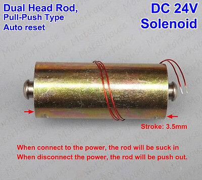 Micro Mini Solenoid Electromagnet Auto Reset Push Pull Type Dual Head Rod Dc 24v