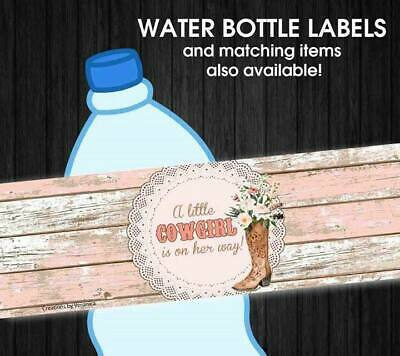 Cowgirl Western Boots Waterproof Birthday or Baby Shower Water Bottle - Western Baby Shower