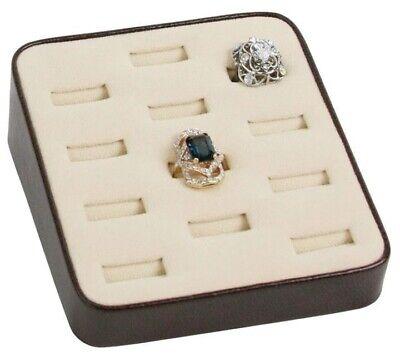 Dark Brown Beige Suede 12 Slot Ring Tray Jewelry Store Boudoir Display Pawn Shop