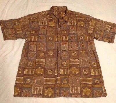 Tori Richard SS Camp Shirt XL Brown Multi Color Squares Patchwork Aloha Palms Patchwork Camp Shirt