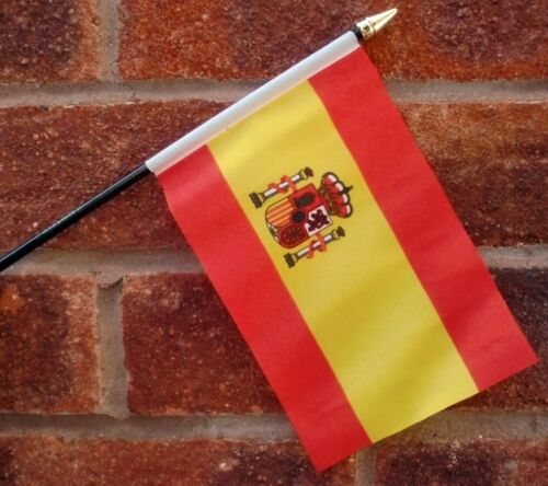SPAIN WITH CREST flag PACK OF TEN SMALL HAND WAVING FLAGS Spanish Espanol