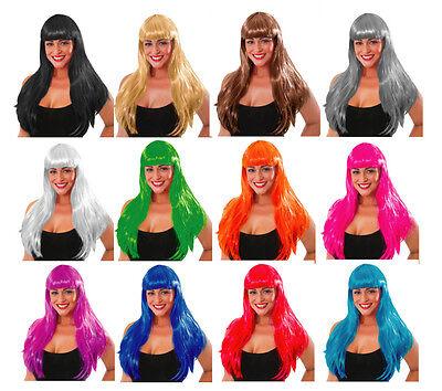Lange Perücke Fransen Halloween Neon Kostüm Hexe 80's Katy Perry Gerade Haare
