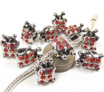 Red Ladybug Charm - Red Crystal Ladybug Screw Threaded Stopper Lock Bead for European Charm Bracelet