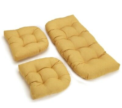 Outdoor All Weather 3pc Wicker Settee Chair CUSHION SET Yellow Summer ()