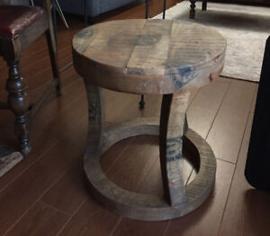 Very cool wood end table - $40
