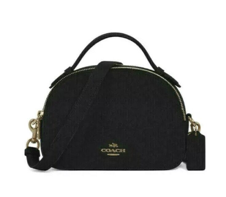 💙 Coach Serena Black Crossgrain Leather Crossbody Satchel Handbag Bag Purse NWT