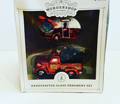 Wondershop Red Truck With Christmas Tree And Camper Glass Ornament Set 2018