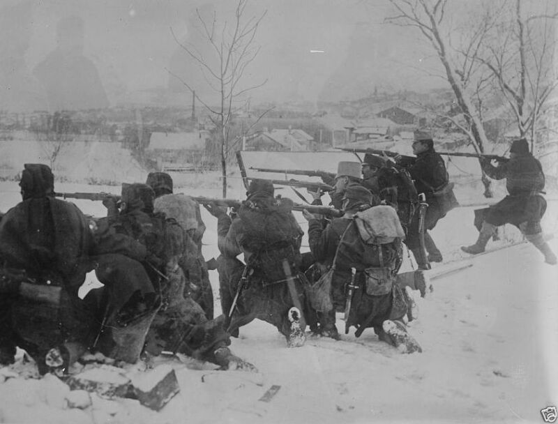 Austrian infantry firing on the front line Bukovina 1914 World War I 8x10 Photo