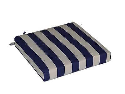 Outdoor Navy Blue & White Stripe Patio Universal Foam Chair Cushion, Choose Size (Cushion Blue Stripe)