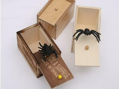 Halloween Funny Prank Spider Wooden Scary Box Kids Adult Office Joke Gag Toy