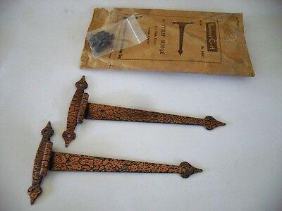 Vtg NOS T STRAP HINGES Flush Cabinet Doors hammered Copper plated 6-1/2