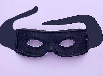 MASKED MAN BANDIT MASK BLACK w/ CLOTH TIE STRAPS ZORRO ROBBER VILLAIN - Thief Mask Halloween