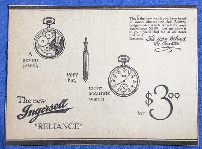 Vintage 1916 Ingersoll Reliance Pocket Watch Newspaper Print Ad