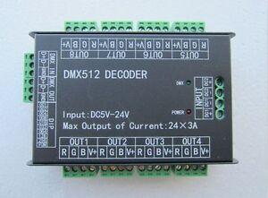 High Power 24-Kanal 3A / CH DMX512-Controller LED Decoder Dimmer LightingProject