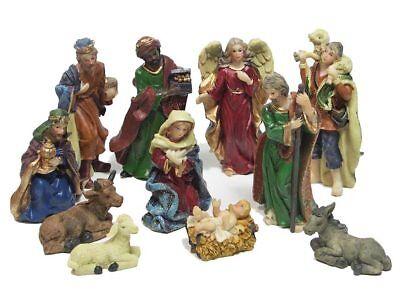 zeitzone Wunderschöne Krippenfiguren Set Handbemalt Weihnachten 11 teilig Weihnachten Krippe