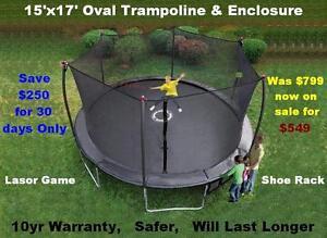 17' Trampoline & Safety Enclosure Industrial Grade 10yr Warranty