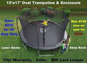 17' Trampoline & Safety Enclosure Industrial Grade 10yr Warranty