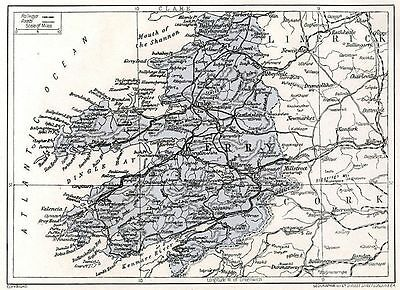 1923 map of Ireland: Co. Kerry antique ready-mounted print SUPERB