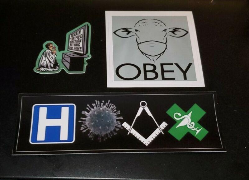 Plandemic HOAX Political Bumper Sticker Lot Of 3 SHEEPLE FEAR Altar Boy GOV-DID