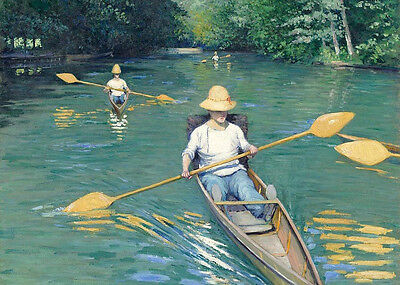 Oil painting Young people boating on the river in summer landscape Hand painted
