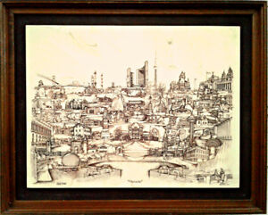 1976 Limited Edition Resin Marble Etching 'Ontario', D. Bivens