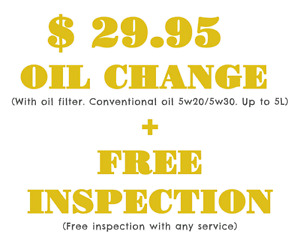$29.95 oil change + free inspection
