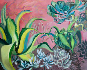 Semi-abstract cactus garden with pink wall landscape painting
