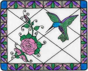 Hummingbird And Roses Stained Glass Painting