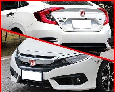 2xJDM Red H Front and Rear Emblem Badge For HONDA CIVIC 2016 2019 Sedan 4 Door