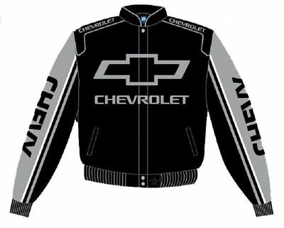 Chevrolet Jacket Black Gray Mens Cotton Twill Chevy Racing By JH Design NEW Cotton Racing Jacket