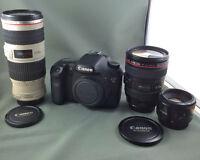 Canon 7D + 3 lenses/objectifs+éclairage/lights garantie/warranty