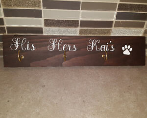 Key and Leash Holder Wooden Sign