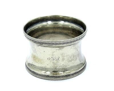 Antique etched Filigree Wave pattern Sterling Silver NAPKIN RING Holder