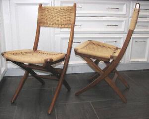 RARE 2 x Chaises Pliante Mid-Century  Style Hans Wegner