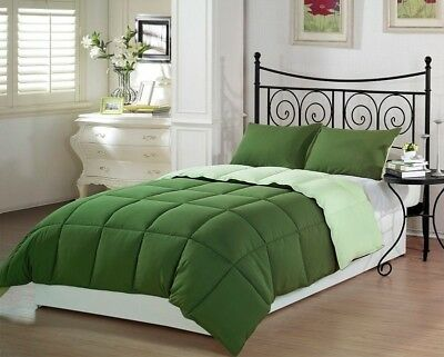 2pcs Green Piped Edge Reversible Down Alternative Comforter Set Twin Size