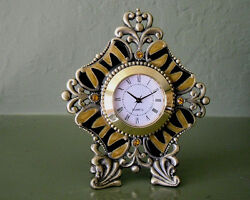 PEWTER, CRYSTAL, ENAMEL Tiny Table CLOCK, JUNGLE STRIPED,  Easy to Read