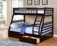 Free Delivery!  Twin over Full Bunk Bed w/Free Storage Drawers!